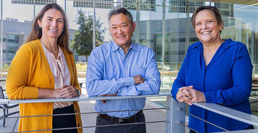 From left, professors Linda Hirst, Chris Amemiya and Valerie Leppert.