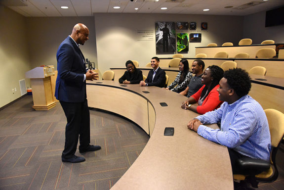 Terrence Buck welcomes INL's first GEM Fellows. Photo courtesy of Idaho National Laboratory.